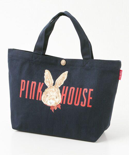 PINK HOUSE / ピンクハウス トートバッグ | ピンクハウスアーカイブプリントトートバッグ(顔うさぎ・杢ブルー)