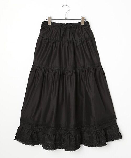 PINK HOUSE / ピンクハウス ロング・マキシ丈スカート | リボン使いローンスカート(クロ)