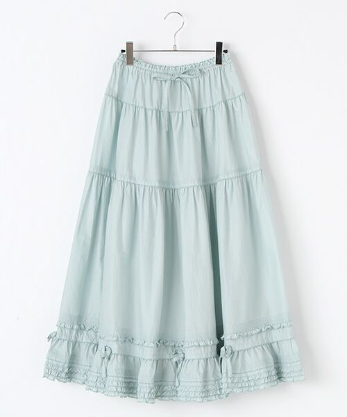 PINK HOUSE / ピンクハウス ロング・マキシ丈スカート | リボン使いローンスカート(ミントグリーン×シロ)