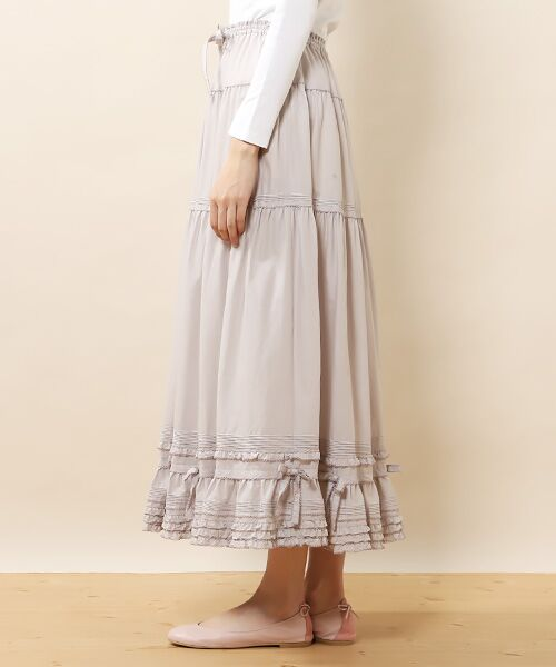 PINK HOUSE / ピンクハウス ロング・マキシ丈スカート | リボン使いローンスカート | 詳細6