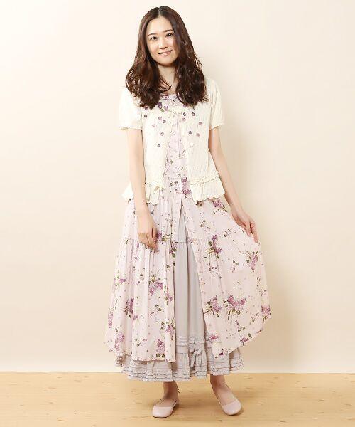PINK HOUSE / ピンクハウス ロング・マキシ丈スカート | リボン使いローンスカート | 詳細12