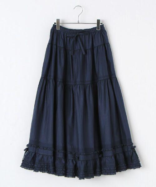 PINK HOUSE / ピンクハウス ロング・マキシ丈スカート | リボン使いローンスカート(ネイビー)