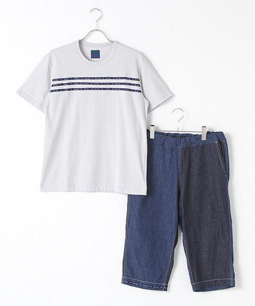 PINK HOUSE / ピンクハウス Tシャツ   セルビッチテープ使いTシャツ&パッチワーク使いハーフパンツセット(ブルー系×ライトグレー)