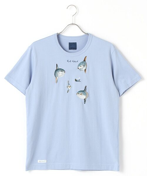 PINK HOUSE / ピンクハウス Tシャツ | マンボウ&パフィン刺繍Tシャツ(ブルー)
