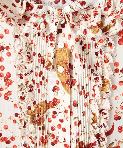 PINK HOUSE / ピンクハウス ロング・マキシ丈ワンピース | チェリーと帽子プリントパッチワークワンピース | 詳細5
