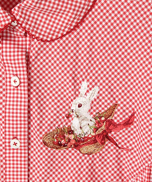 PINK HOUSE / ピンクハウス シャツ・ブラウス | うさぎと帽子刺繍入りギンガムチュニックブラウス | 詳細2