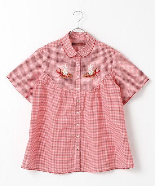 PINK HOUSE / ピンクハウス シャツ・ブラウス | うさぎと帽子刺繍入りギンガムチュニックブラウス(アカギンガム)