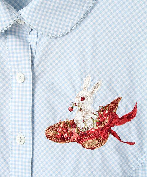 PINK HOUSE / ピンクハウス シャツ・ブラウス | うさぎと帽子刺繍入りギンガムチュニックブラウス | 詳細6