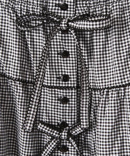PINK HOUSE / ピンクハウス ロング・マキシ丈スカート | リボン使いギンガムチェックスカート | 詳細1