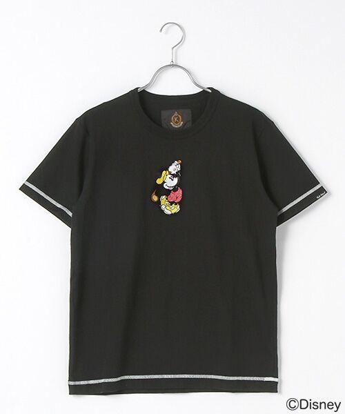 PINK HOUSE / ピンクハウス Tシャツ | 【アウトレット】刺繍Tシャツ/ミッキーマウス(クロ)