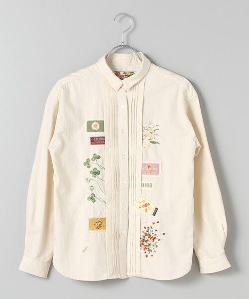 アニバーサリー刺繍&ワッペンデニムブラウス