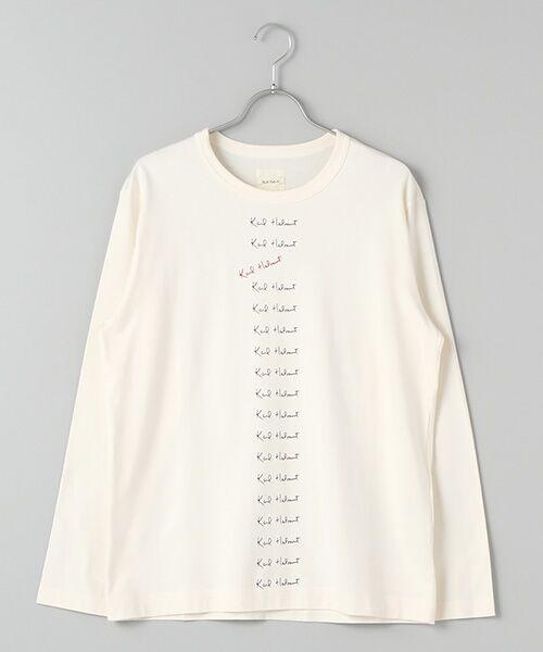 PINK HOUSE / ピンクハウス Tシャツ | カールヘルムロゴプリント長袖Tシャツ(オフ)