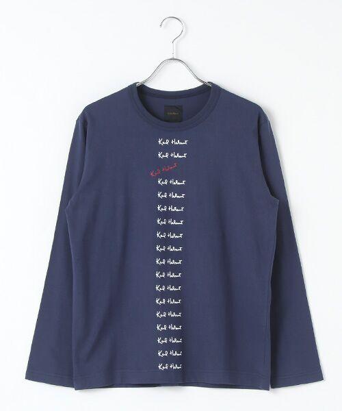 PINK HOUSE / ピンクハウス Tシャツ | カールヘルムロゴプリント長袖Tシャツ(ネイビー)