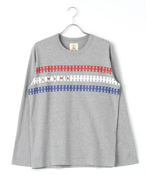 PINK HOUSE / ピンクハウス Tシャツ | シルエットカールくんプリント長袖Tシャツ(トップグレー)