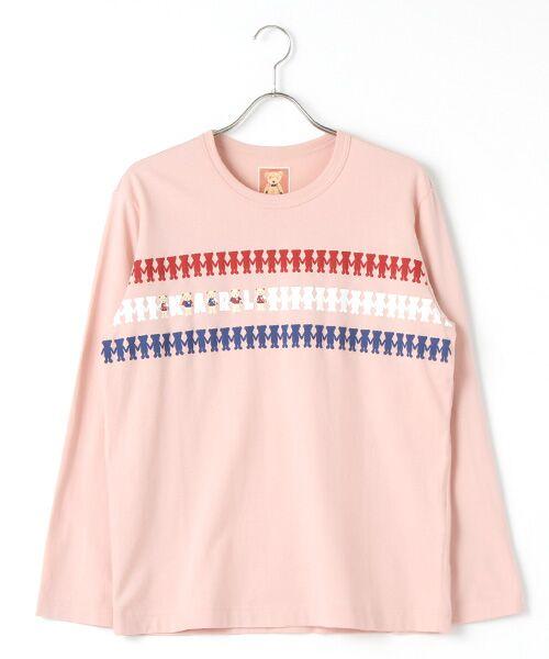 PINK HOUSE / ピンクハウス Tシャツ | シルエットカールくんプリント長袖Tシャツ(ピンク)