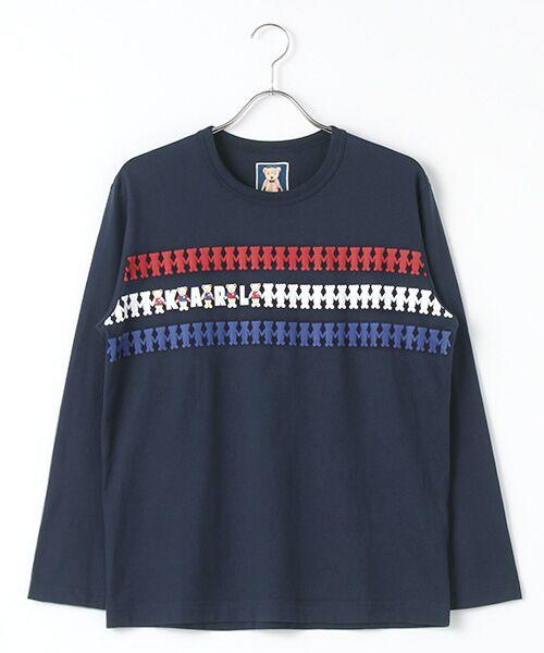 PINK HOUSE / ピンクハウス Tシャツ | シルエットカールくんプリント長袖Tシャツ(ネイビー)
