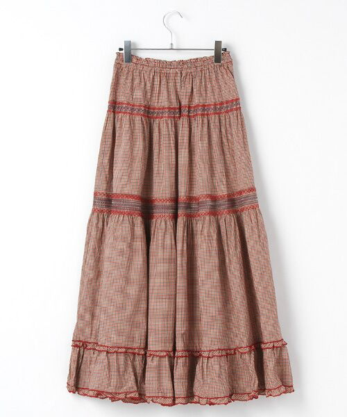 PINK HOUSE / ピンクハウス ロング・マキシ丈スカート | スモック刺繍チェックスカート | 詳細1
