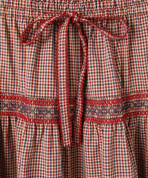 PINK HOUSE / ピンクハウス ロング・マキシ丈スカート | スモック刺繍チェックスカート | 詳細5