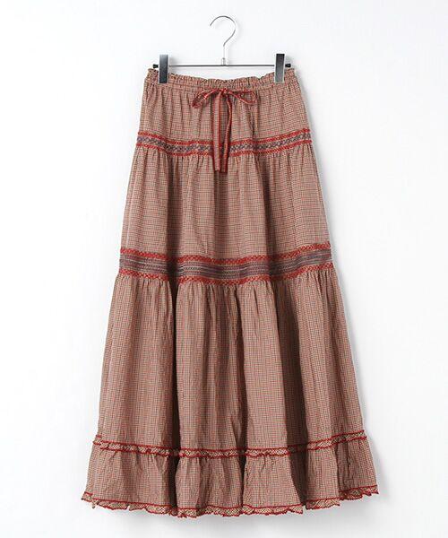 PINK HOUSE / ピンクハウス ロング・マキシ丈スカート | スモック刺繍チェックスカート(アカ系)