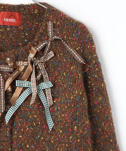 PINK HOUSE / ピンクハウス カーディガン・ボレロ | ランダムリボンカラフルネップニットカーディガン | 詳細4