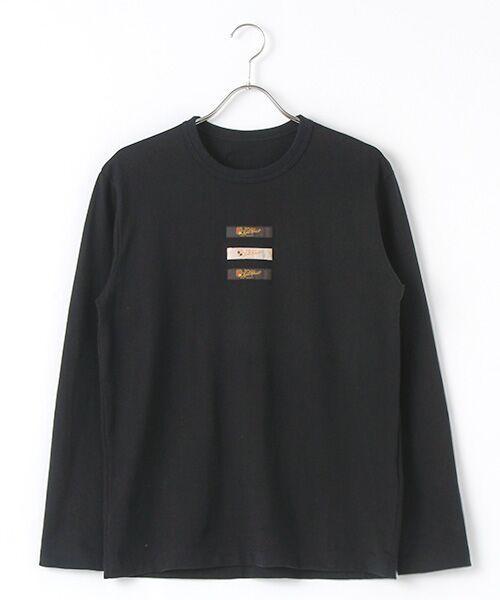 PINK HOUSE / ピンクハウス Tシャツ | ネームワッペン使い長袖Tシャツ(クロ)