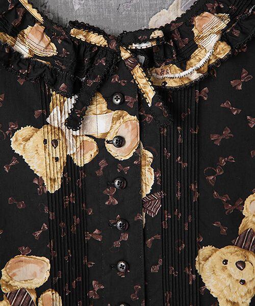 PINK HOUSE / ピンクハウス ロング・マキシ丈ワンピース   フリル衿付きビターリボンズベアプリントワンピース   詳細5