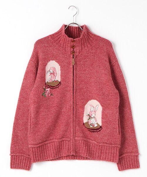 PINK HOUSE / ピンクハウス ニット・セーター | アンダーザグラス刺繍ジップアップニット(アカ)