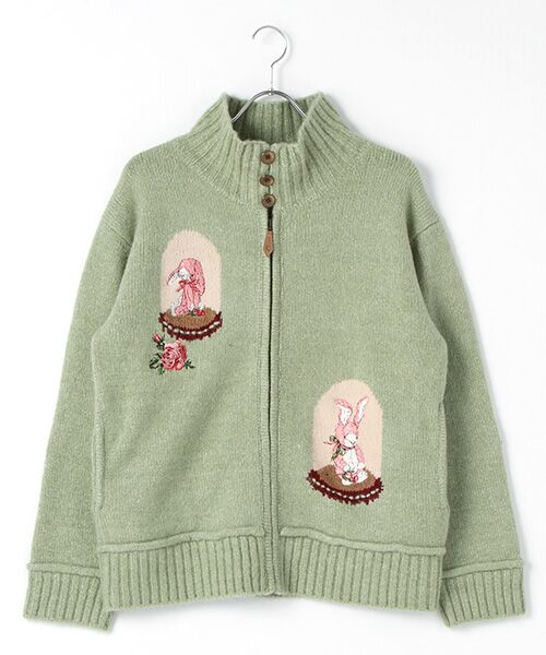PINK HOUSE / ピンクハウス ニット・セーター | アンダーザグラス刺繍ジップアップニット(グリーン)