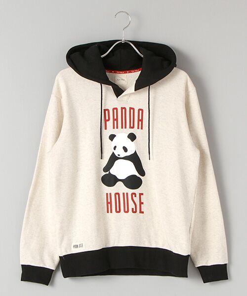 PINK HOUSE / ピンクハウス スウェット | PANDA HOUSEプリントフード付きトレーナー(オートミル×クロ)