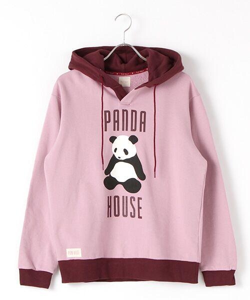 PINK HOUSE / ピンクハウス スウェット | PANDA HOUSEプリントフード付きトレーナー(ローズ×モーヴ)