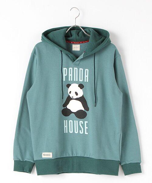 PINK HOUSE / ピンクハウス スウェット | PANDA HOUSEプリントフード付きトレーナー(ターコイズ×ピーコック)
