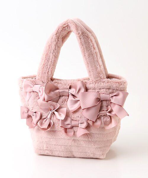 PINK HOUSE / ピンクハウス ハンドバッグ | リボン使いフェイクファーバッグ(ピンク)