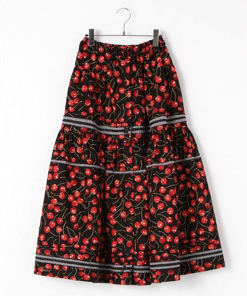 PINK HOUSE / ピンクハウス ロング・マキシ丈スカート   アメリカンチェリープリントスカート(クロ)