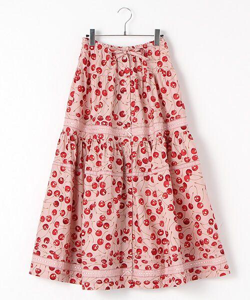 PINK HOUSE / ピンクハウス ロング・マキシ丈スカート   アメリカンチェリープリントスカート(ピンク)