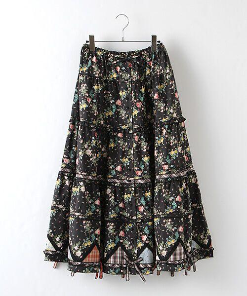 PINK HOUSE / ピンクハウス ロング・マキシ丈スカート | ルドゥーテ 小バラ柄スカート(クロ)