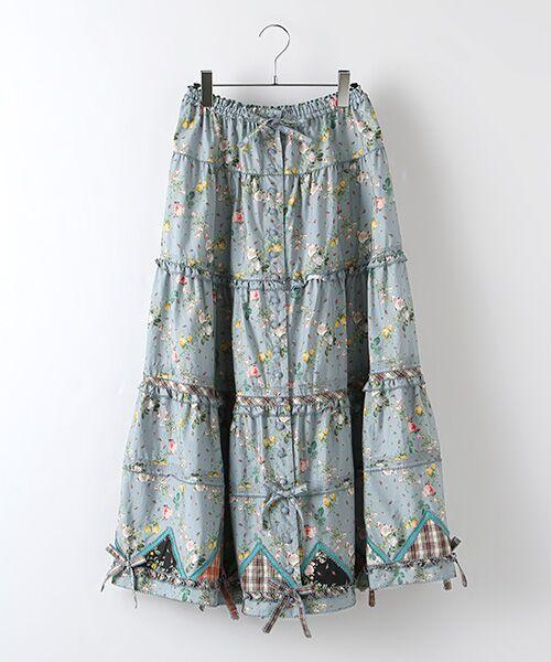 PINK HOUSE / ピンクハウス ロング・マキシ丈スカート | ルドゥーテ 小バラ柄スカート(ブルーグレー)