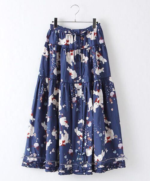 PINK HOUSE / ピンクハウス ロング・マキシ丈スカート | エトワールシュクレプリントスカート(ナイトブルー)
