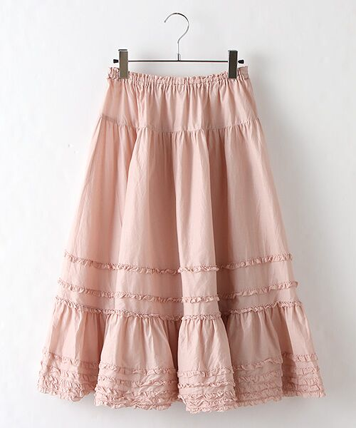 PINK HOUSE / ピンクハウス ロング・マキシ丈スカート | ローンフリルミディスカート(ピンク)