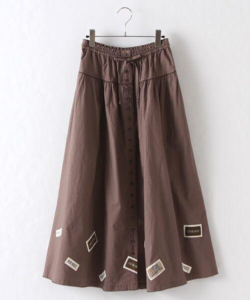PINK HOUSE / ピンクハウス ロング・マキシ丈スカート   ネームワッペン使いスカート(ブラウン)