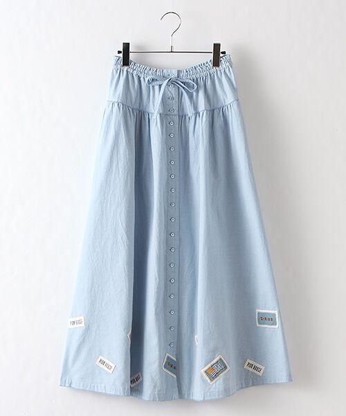 PINK HOUSE / ピンクハウス ロング・マキシ丈スカート   ネームワッペン使いスカート(ブルー)