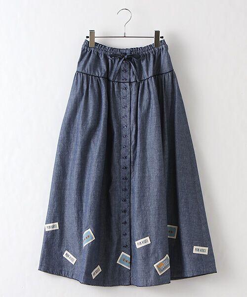 PINK HOUSE / ピンクハウス ロング・マキシ丈スカート   ネームワッペン使いスカート(ネイビー)