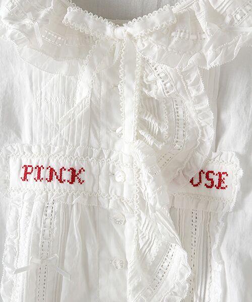 PINK HOUSE / ピンクハウス シャツ・ブラウス | ロゴ刺繍ローンブラウス | 詳細6