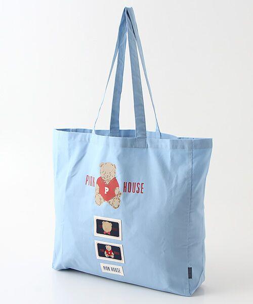 PINK HOUSE / ピンクハウス トートバッグ | 【オンライン先行販売】オールドベアプリントトートバッグ(ブルーグレー)