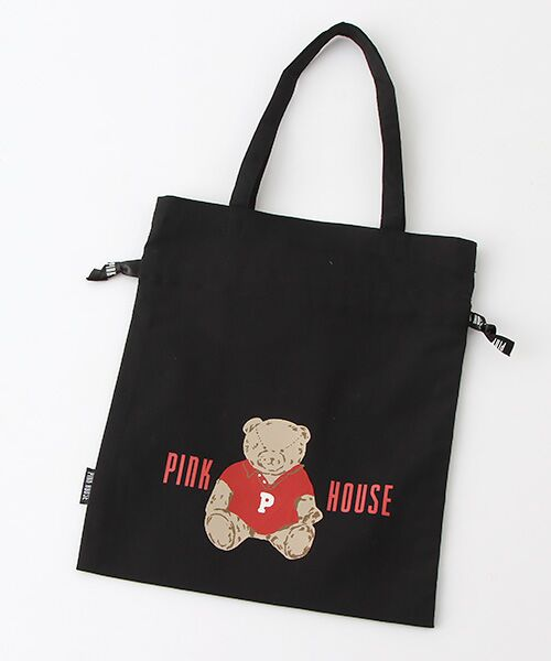 PINK HOUSE / ピンクハウス トートバッグ | 【アウトレット】【オンライン先行販売】オールドベアプリント巾着バッグ(クロ)