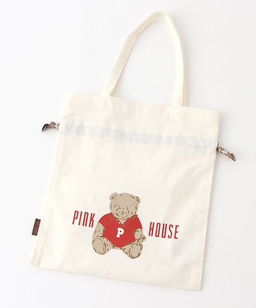PINK HOUSE / ピンクハウス トートバッグ | 【アウトレット】【オンライン先行販売】オールドベアプリント巾着バッグ(オフ)