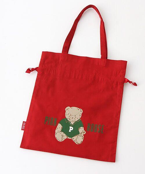 PINK HOUSE / ピンクハウス トートバッグ | 【アウトレット】【オンライン先行販売】オールドベアプリント巾着バッグ(アカ)