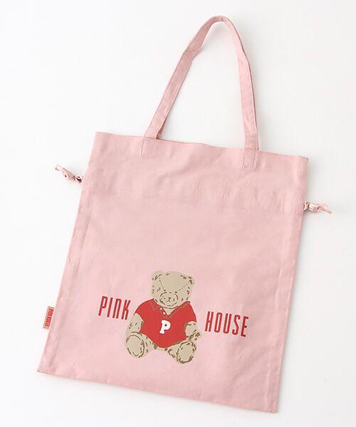 PINK HOUSE / ピンクハウス トートバッグ | 【アウトレット】【オンライン先行販売】オールドベアプリント巾着バッグ(ピンク)