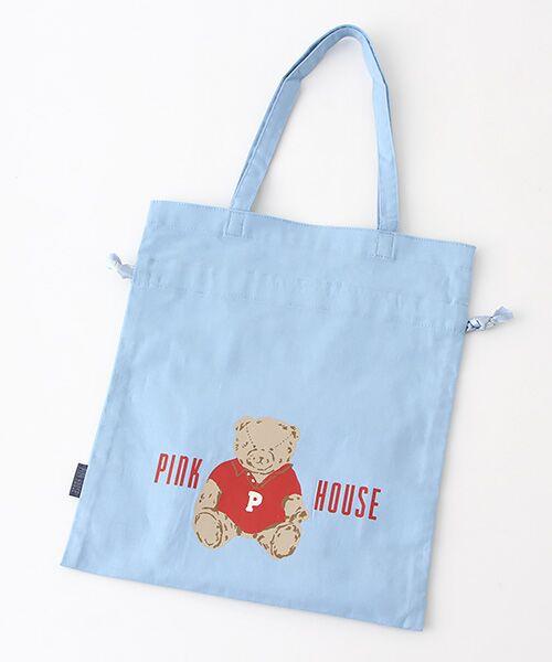 PINK HOUSE / ピンクハウス トートバッグ | 【アウトレット】【オンライン先行販売】オールドベアプリント巾着バッグ(ブルーグレー)