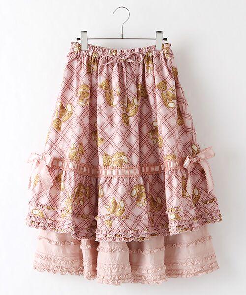 【PINK HOUSE×misako&erinko】ピンクリトルテディプリントスカート