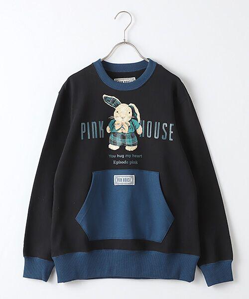 PINK HOUSE / ピンクハウス スウェット | タータンうさぎプリントトレーナー(クロ×コン)
